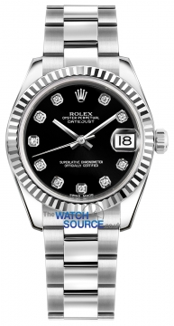 Rolex Datejust 31mm Stainless Steel 178274 Black Diamond Oyster watch