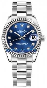 Rolex Datejust 31mm Stainless Steel 178274 Blue Diamond Oyster watch