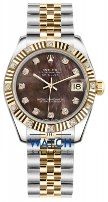 Rolex Datejust 31mm Stainless Steel and Yellow Gold 178313 Black MOP Diamond Jubilee watch