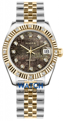 Rolex Datejust 31mm Stainless Steel and Yellow Gold 178313 Jubilee Black MOP Diamond Jubilee watch