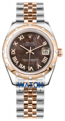 Rolex Datejust 31mm Stainless Steel and Rose Gold 178341 Black MOP Roman Jubilee watch