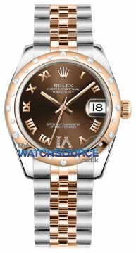 Rolex Datejust 31mm Stainless Steel and Rose Gold 178341 Chocolate VI Roman Jubilee watch