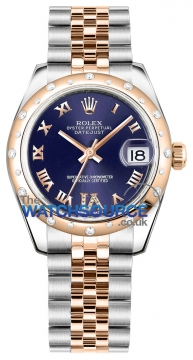 Rolex Datejust 31mm Stainless Steel and Rose Gold 178341 Purple VI Roman Jubilee watch