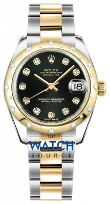 Rolex Datejust 31mm Stainless Steel and Yellow Gold 178343 Black Diamond Oyster watch
