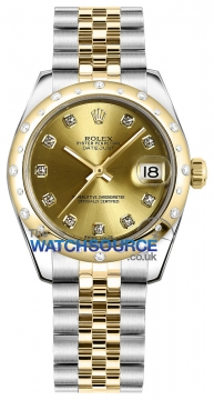 Rolex Datejust 31mm Stainless Steel and Yellow Gold 178343 Champagne Diamond Jubilee watch
