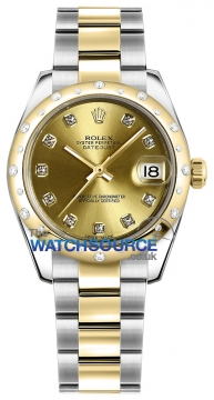 Rolex Datejust 31mm Stainless Steel and Yellow Gold 178343 Champagne Diamond Oyster watch