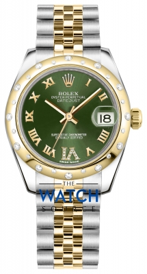 Rolex Datejust 31mm Stainless Steel and Yellow Gold 178343 Olive Green VI Roman Jubilee watch