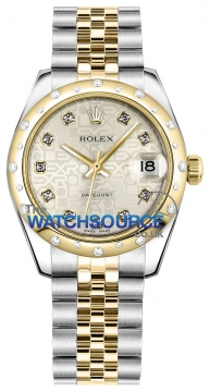 Rolex Datejust 31mm Stainless Steel and Yellow Gold 178343 Jubilee Silver Diamond Jubilee watch