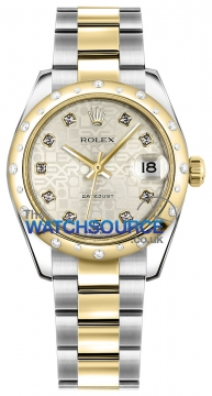 Rolex Datejust 31mm Stainless Steel and Yellow Gold 178343 Jubilee Silver Diamond Oyster watch