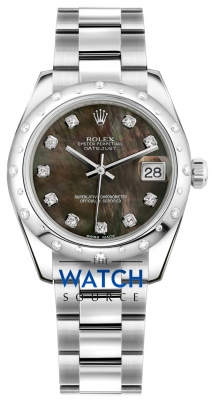 Rolex Datejust 31mm Stainless Steel 178344 Black MOP Diamond Oyster watch