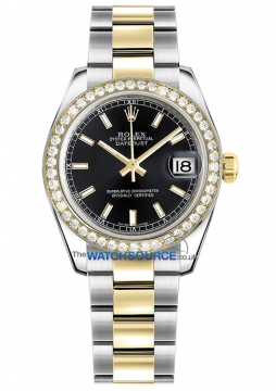 Rolex Datejust 31mm Stainless Steel and Yellow Gold 178383 Black Index Oyster watch