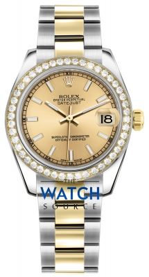Rolex Datejust 31mm Stainless Steel and Yellow Gold 178383 Champagne Index Oyster watch