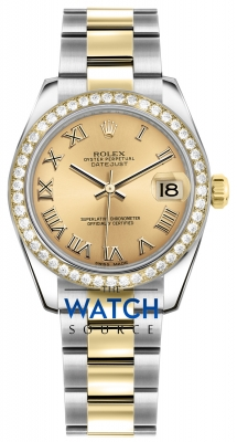 Rolex Datejust 31mm Stainless Steel and Yellow Gold 178383 Champagne Roman Oyster watch