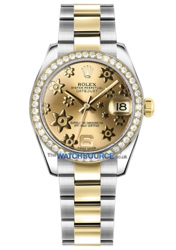 Rolex Datejust 31mm Stainless Steel and Yellow Gold 178383 Champagne Floral Oyster watch