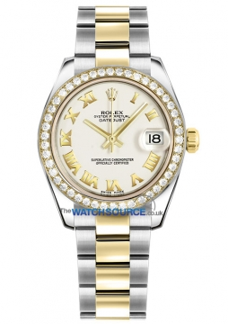 Rolex Datejust 31mm Stainless Steel and Yellow Gold 178383 White Roman Oyster watch