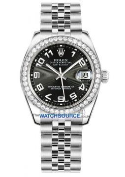Rolex Datejust 31mm Stainless Steel 178384 Black Concentric Arabic Jubilee watch