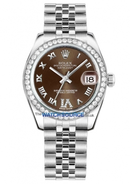 Rolex Datejust 31mm Stainless Steel 178384 Bronze VI Roman Jubilee watch