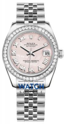 Rolex Datejust 31mm Stainless Steel 178384 Pink MOP Roman Jubilee watch