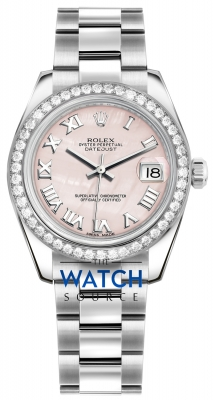 Rolex Datejust 31mm Stainless Steel 178384 Pink MOP Roman Oyster watch