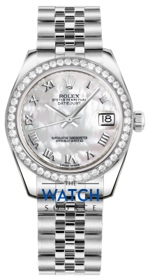 Rolex Datejust 31mm Stainless Steel 178384 White MOP Roman Jubilee watch