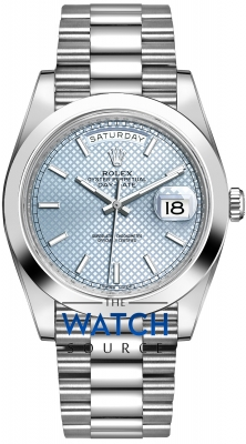 Rolex Day-Date 40mm Platinum 228206 Ice Blue Diagonal Index watch
