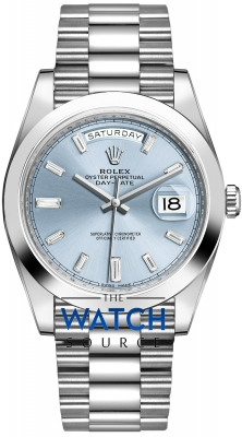 Rolex Day-Date 40mm Platinum 228206 Ice Blue Baguette Index watch