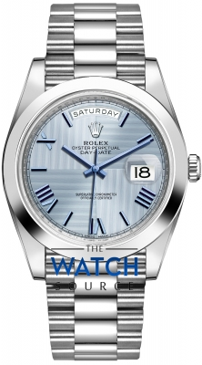 Rolex Day-Date 40mm Platinum 228206 Ice Blue Quadrant Roman watch