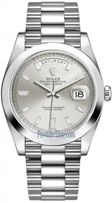 Rolex Day-Date 40mm Platinum 228206 Silver Baguette watch