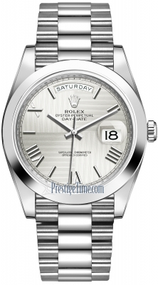 Rolex Day-Date 40mm Platinum 228206 Silver Quadrant Roman watch