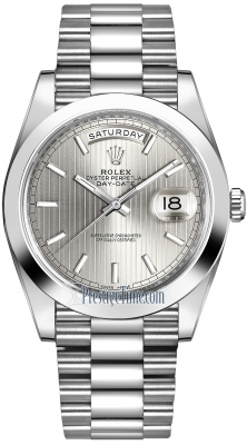 Rolex Day-Date 40mm Platinum 228206 Silver Index watch