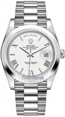 Rolex Day-Date 40mm Platinum 228206 White Roman watch