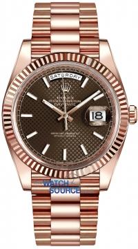 Rolex Day-Date 40mm Everose Gold 228235 Chocolate Diagonal Index watch