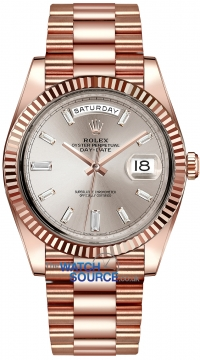 Rolex Day-Date 40mm Everose Gold 228235 Sundust Baguette Index watch