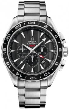 Buy this new Omega Aqua Terra Chronograph GMT 231.10.44.52.06.001 mens watch for the discount price of £4,964.00. UK Retailer.