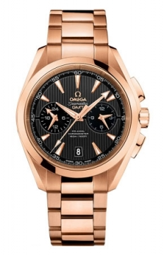 Buy this new Omega Aqua Terra 150m Co-Axial GMT Chronograph 43mm 231.50.43.52.06.001 mens watch for the discount price of £25,200.00. UK Retailer.