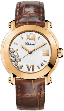 Chopard Happy Sport Round Quartz 36mm Ladies watch, model number - 277471-5001 brown, discount price of £7,807.00 from The Watch Source