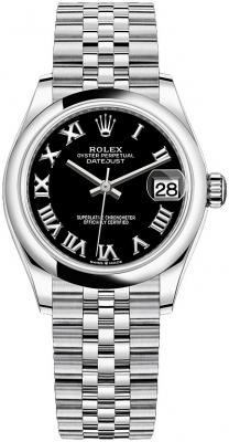 Rolex Datejust 31mm Stainless Steel 278240 Black Roman Jubilee watch
