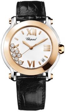 Chopard Happy Sport Round Quartz 36mm Ladies watch, model number - 278492-9001 black, discount price of £5,601.00 from The Watch Source