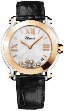 Chopard Happy Sport Round Quartz 36mm Ladies watch, model number - 278492-9004 black, discount price of £5,848.00 from The Watch Source