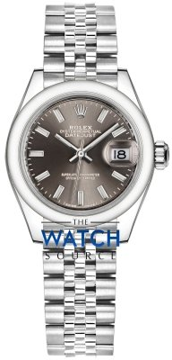 Rolex Lady Datejust 28mm Stainless Steel 279160 Dark Grey Index Jubilee watch