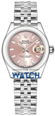 Rolex Lady Datejust 28mm Stainless Steel 279160 Pink Index Jubilee watch