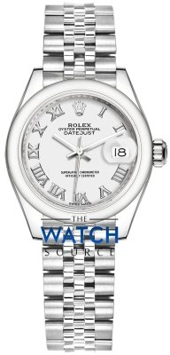 Buy this new Rolex Lady Datejust 28mm Stainless Steel 279160 White Roman Jubilee ladies watch for the discount price of £5,600.00. UK Retailer.