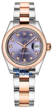 Rolex Lady Datejust 28mm Stainless Steel and Everose Gold 279161 Aubergine Diamond Oyster watch