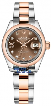 Rolex Lady Datejust 28mm Stainless Steel and Everose Gold 279161 Chocolate 17 Diamond Oyster watch