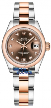 Rolex Lady Datejust 28mm Stainless Steel and Everose Gold 279161 Chocolate Diamond Oyster watch