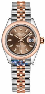 Buy this new Rolex Lady Datejust 28mm Stainless Steel and Everose Gold 279161 Chocolate Index Jubilee ladies watch for the discount price of £8,050.00. UK Retailer.