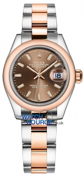 Rolex Lady Datejust 28mm Stainless Steel and Everose Gold 279161 Chocolate Index Oyster watch