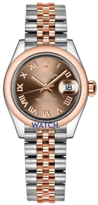 Buy this new Rolex Lady Datejust 28mm Stainless Steel and Everose Gold 279161 Chocolate Roman Jubilee ladies watch for the discount price of £8,050.00. UK Retailer.