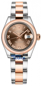 Rolex Lady Datejust 28mm Stainless Steel and Everose Gold 279161 Chocolate Roman Oyster watch