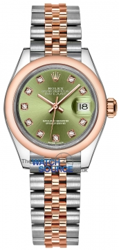 Rolex Lady Datejust 28mm Stainless Steel and Everose Gold 279161 Olive Green Diamond Jubilee watch
